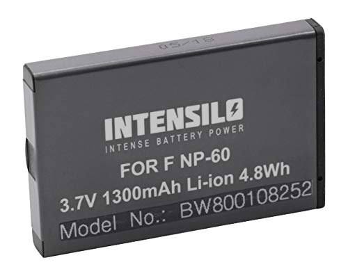 INTENSILO Li-Ion Akku 1300mAh (3.7V) für Kamera Camcorder Actioncam Jay-Tech Videoshot HDV1080, DDV-H151z, DVH20, DVH22, DVH24 wie NP-60, DB40.