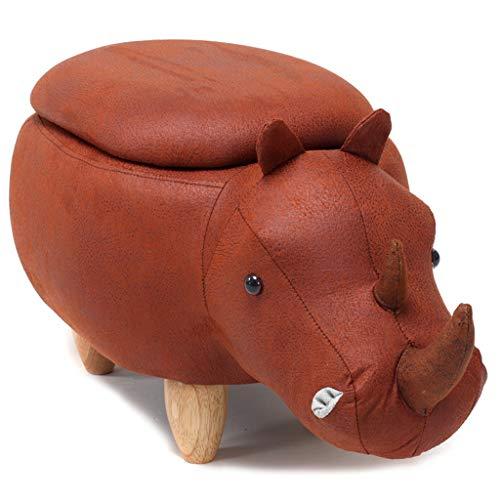 CHQYY Sillas- Animal otomana de almacenamiento resto del pie Taburete, Cojín acolchado del asiento Reposapiés Puf heces Resto con 4 patas de madera for niños o adultos, Rhino (Color : Red)