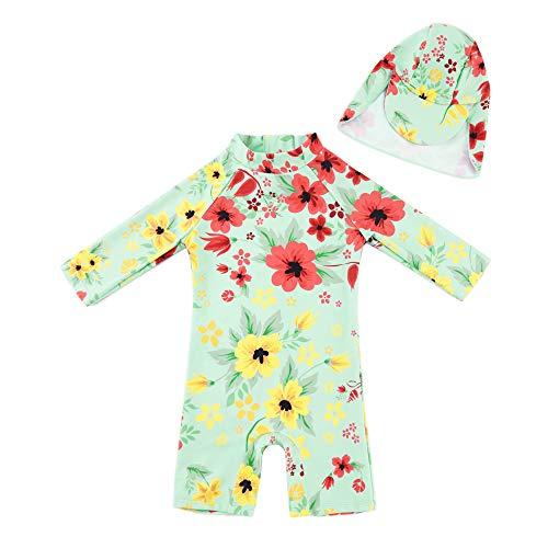 upandfast Langärmliger Surfanzug mit Sonnenschutz für kleine Mädchen(Hellgrün,3-6 Monate)
