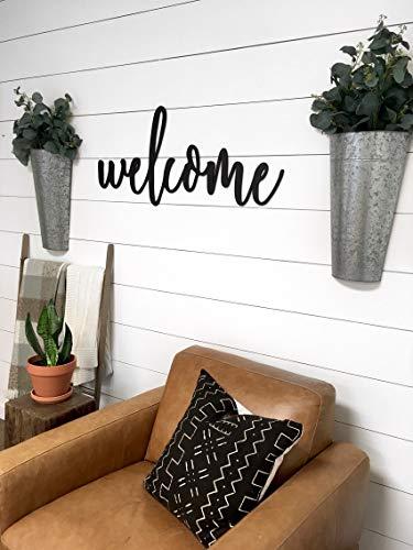 Eyrrme Großes Willkommensschild mit Schriftzug Welcome Break, Bauernhausdeko, lasergeschnittenes Wortschild