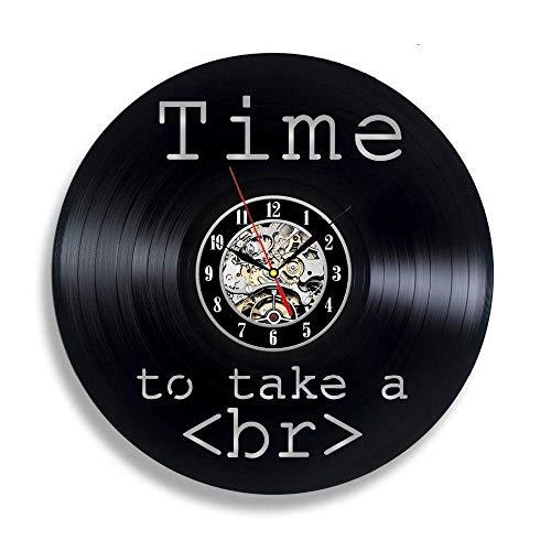 FUTIIF Handmade Solutions EU Web Developer Divertido Reloj De Pared con Disco De Vinilo De 12'- Código HTML Programador Regalo con Led