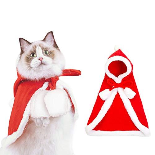 Kuoser Disfraz de Capa de Navidad para Mascotas con Campanas de Tela Suave y Gruesa para Perros, Gatos y Perros pequeños