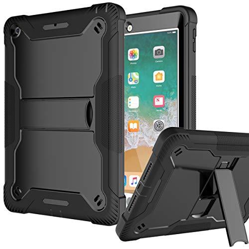 Fingic iPad 6th Generation Case, iPad 9.7 Case 2018/2017, iPad 5th Gen Case High-Impact Shock Absorbent Dual Layer Silicone Rugged Bumper Protective Case for iPad 8th Gen 2020 /iPad 7th Gen 2019,Black