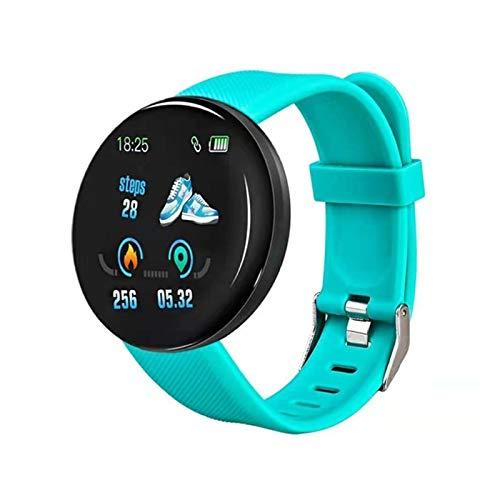 LYB Reloj inteligente para hombre y mujer, D18, Bluetooth, resistente al agua, frecuencia cardíaca, monitor de presión arterial, fitness para iOS Android (color: verde)