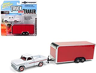 New DIECAST Toys CAR JOHNNY LIGHTNING 1:64 Truck and Trailer - 1965 Chevrolet STEPSIDE with Enclosed Trailer White RED JLSP020