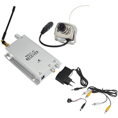 Vaorwne 1.2G Kit Telecamera Ricevitore Radio AV con Alimentatore Sorveglianza Sicurezza Domestica (Spina EU)