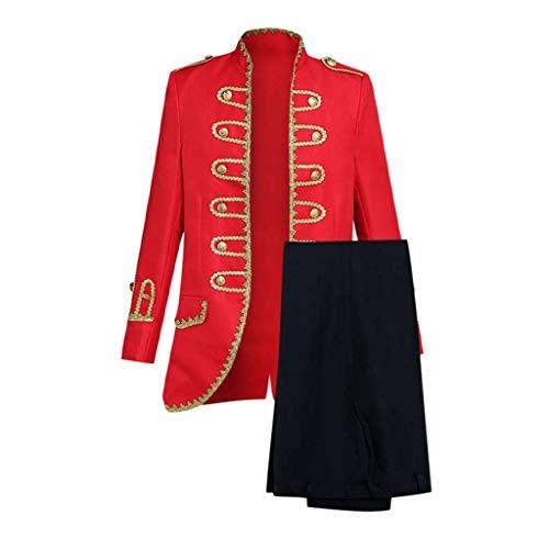 PPangUDing Anzüge Militärkleid im Europäischen Stil Kostüm Herren Retro Gothic Steampunk Jacquard Baroque Uniform Leistung Prinz Cosplay Kostüm Militäruniformen Leistungen Anzug Zweiteiliger