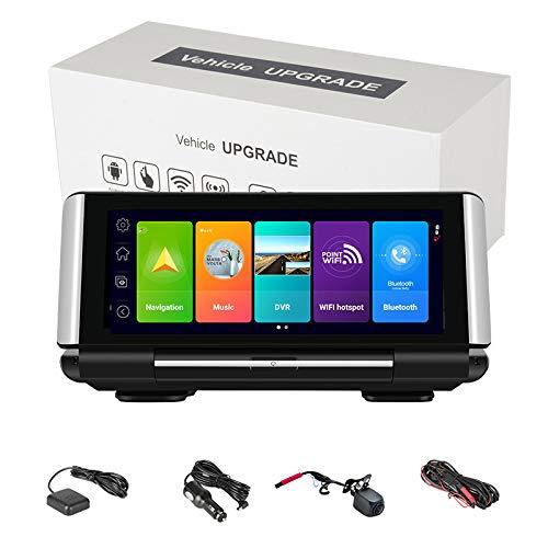 ACAMPTAR FHD 1080P ADAS WiFi Grabador de ConduccióN de Doble Lente CáMara de la Leva 4G DVR de la Rociada de la NavegacióN de los GPS de la Consola Central del Coche de Android 8.1