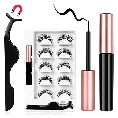 URAQT Magnetische Wimpern mit Eyeliner, 5 Paare 3D Dicke Lange Künstliche Falsche Eyelashes, Natürlich Magnet Wimpern Eyeliner Set mit Zange, Wasserdicht und Wiederverwendbar