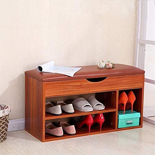 WQFJHKJDS Zapatos a Prueba de Polvo, gabinete Zapato de Madera Rack Mueble de gabinete Banco Otomano Taburete Zapato Unidad de Almacenamiento Organizador Estante con cajón (Color : Brown)