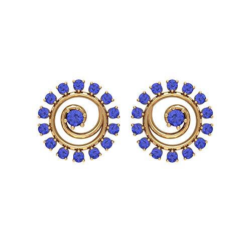 Rosec Jewels 18 quilates oro amarillo redonda Blue Tanzanite