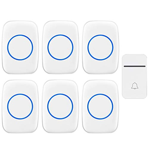 GOODLUKE Self-Powered Wireless Doorbell, 1 Doorbell Button 6 Plug in Receivers, Doorbell with 200M Range, 38 Chimes, 3 Adjustable Volume Levels, Best for Home/Hospital/Office,White