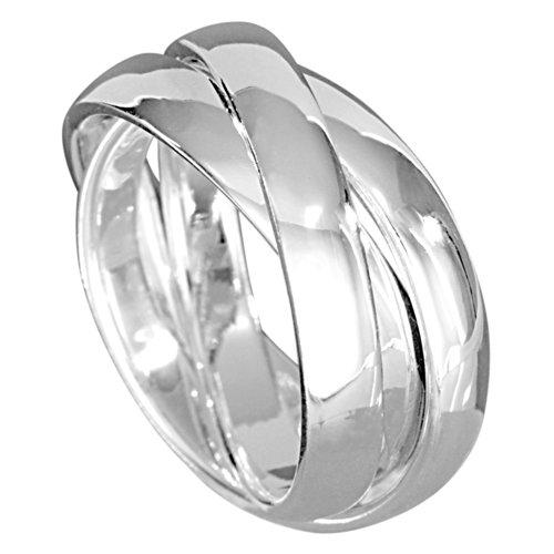 Vinani 3er Ring Wickelring massiv glänzend 3 Ringe beweglich Sterling Silber 925 Dreierring Größe 62 (19.7) R3R62