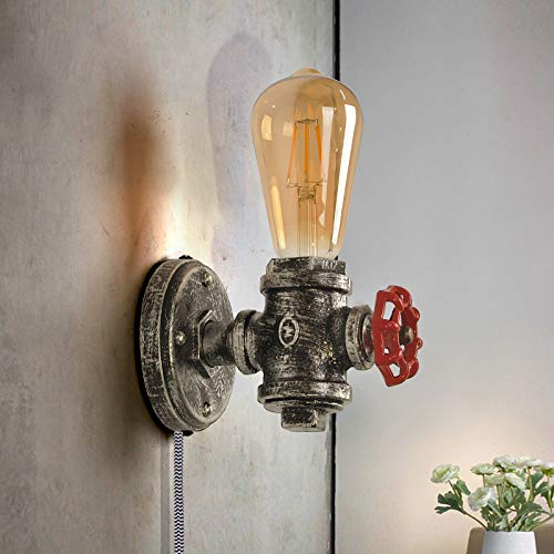 Base de lámpara de pared industrial con cable enchufable, accesorio de pared rústico con válvula roja Luz de metal Steampunk con base E27 vintage Iluminación retro Decoración