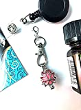 Diffuser Badge Charm for essential oils- Lotus Flower style. Clip on badge reel or zipper.