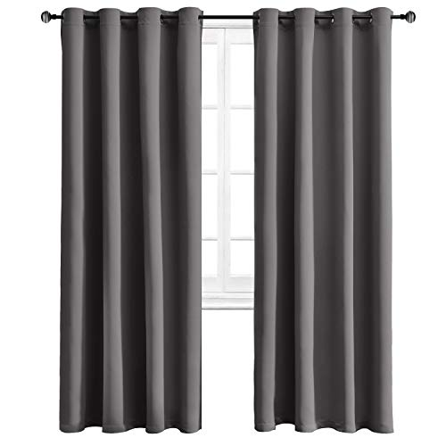 WONTEX Blackout Curtains Thermal Insulated with Grommet Curtains for Bedroom, 52 x 84 inch, Grey, 2 Panels