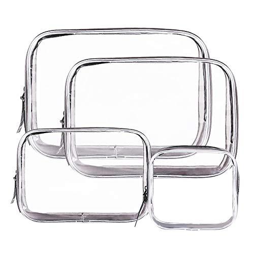 Nakeey 4 Pezzi Borsa Cosmetici Trasparente, Impermeabile Sacchetto da Toilette in PVC Cerniera Pochette Trasparente per Viaggio Attività Vacanza Bagno Organizzazione, 4-Dimensioni