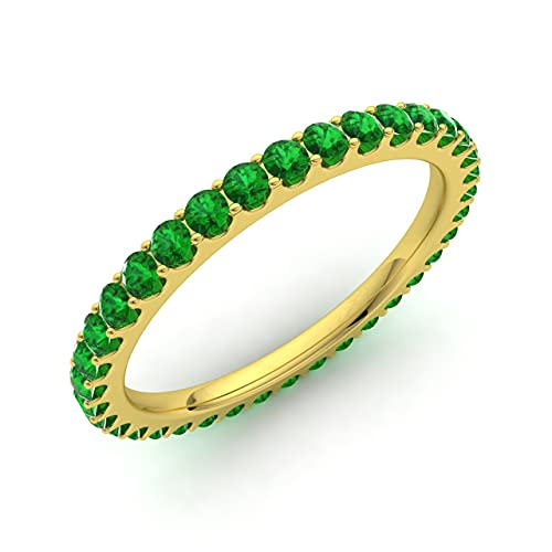 Diamondere Natural and Certified Emerald Wedding Ring in 9ct Yellow Gold | 0.77 Carat Full Eternity Stackable Band Ring for Women, UK Size O