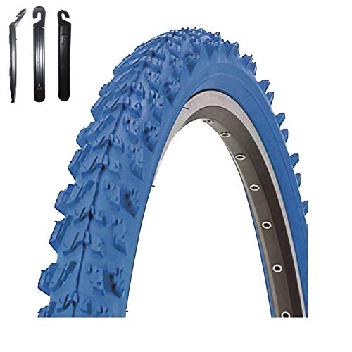 Maxxi4you - Set di 1 copertone per bicicletta Kenda K-829 Psycho 24' MTB, rivestimento blu 50-507 (24 x 1,95) con 3 leve per pneumatici