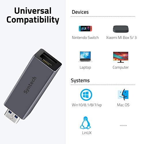 Syntech USB zu Ethernet-Adapter, USB 3.0 zu RJ45 10/100/1000 Gigabit LAN Netzwerkadapter für MacOS, Windows 10/8.1/8/7/Vista/XP, Chrome OS, Linux, Switch und mehr.