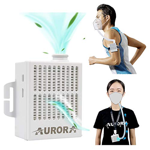 Portable Air Purifier with 5 Pcs Replacement 5-Ply, Rechargeable Reusable Wearable Personal Electrical Air Purifying with HEPA Filter