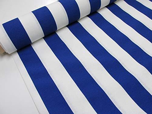 Confección Saymi Metraje 2,45 MTS Tejido loneta Estampada Ref. Rayas 40 Azul, con Ancho 2,80 MTS.