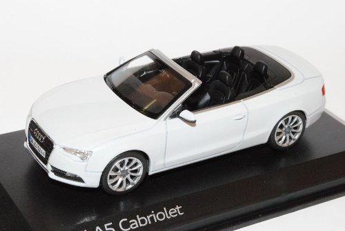 Norev A-U-D-I A5 Cabrio Glacier Weiss Facelift Ab 2011 1/43 Modell Auto mit individiuellem Wunschkennzeichen