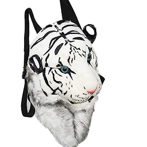 HANDKEI Zaino in peluche con testa di tigre Zaino per animali per bambini Zaino per animali in peluche per adulti (Tigre bianca taglia grande)