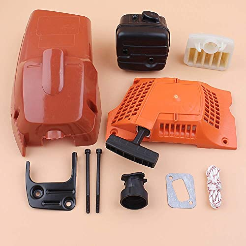 Tapa del cilindro Arrancador de retroceso Filtro de aire Escape Silenciador Kit de pernos Compatible con Husqvarna 340350345346 346XP Repuestos de motosierra Motosierras