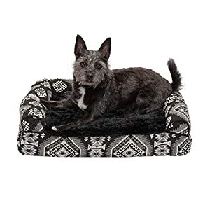 Furhaven Pet Dog Bed – Memory Foam Plush Kilim Southwest Home Decor Traditional Sofa-Style Living Room Couch Pet Bed with Removable Cover for Dogs and Cats, Black Medallion, Small
