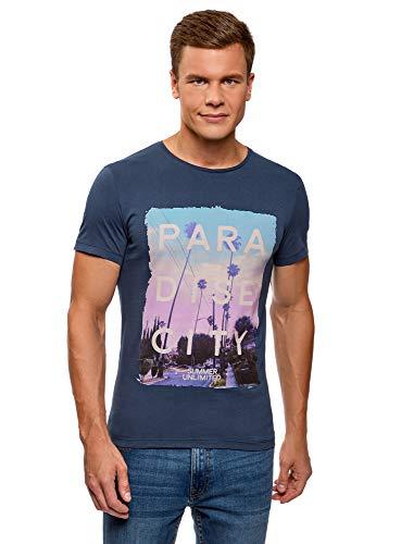 oodji Ultra Hombre Camiseta con Estampado de Verano, Azul, ES 52-54 / L