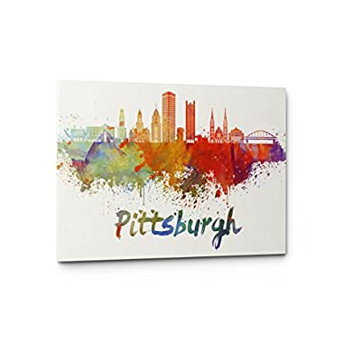 Watercolor City Splash Skyline Wall Art Canvas Print (Pittsburgh)