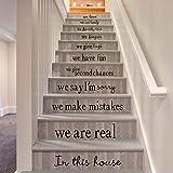 クリエイティブハウスルール英語の諺ウォールステッカーファミリー引用壁飾り壁画のためにリビングルームのベッドルームのホームインテリアAw9453、イエロー
