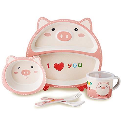 CUHAWUDBA 5 Teiliges Baby Besteck Set Bambus Faser Niedliche Karikatur Kinder FüTtern Geschirr Liebes Schwein
