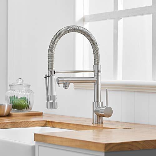 AIMADI Wasserhahn Küche Mischbatterien Pull Down Küchenarmatur mit Brause Spiralfederarmatur Küchenspüle Armatur Geschirrbrause Spültischarmatur Gebürsteter Nickel