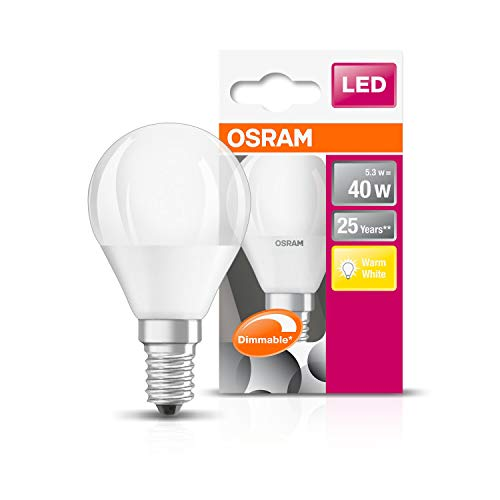 Osram LED SuperStar Classic P lamp, in druppelvorm met E14-fitting, dimbaar, vervangt 40 watt, mat, warmwit - 2700 Kelvin, per stuk verpakt