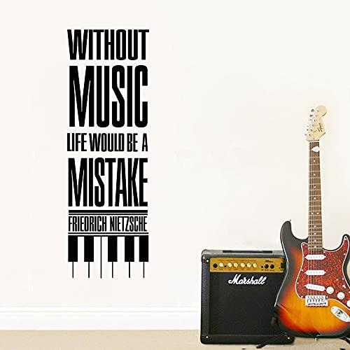 Sin música la vida sería un error Friedrich Nietzsche citas música amor vinilo pegatina de pared calcomanía dormitorio estudio club decoración del hogar mural