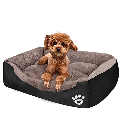 PUPPBUDD Pet Dog Bed for Medium Dogs(XXL-Large for Large Dogs),Dog Bed with Machine Washable Comfortable and Safety for Medium and Large Dogs Or Multiple (L-Small-27.6''x19.7'', Black)