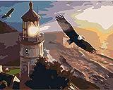 YUHHGFK Pintar por Numeros Águila Animal Faro Pintura al óleo de Bricolaje con Pinceles y Pinturas - para Adultos, niños y Principiantes Decoración del hogar - 40 X 50 cm (Sin Marco)