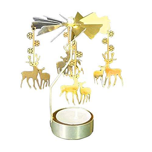 HAIBI Candelero Velas De Oro Rotando Rotación Romántica Girando Carrousel Luz De...