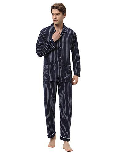 Aibrou Herren Baumwolle Pyjama Set, Karierter Zweiteiliger Schlafanzug Langarm Shirt...
