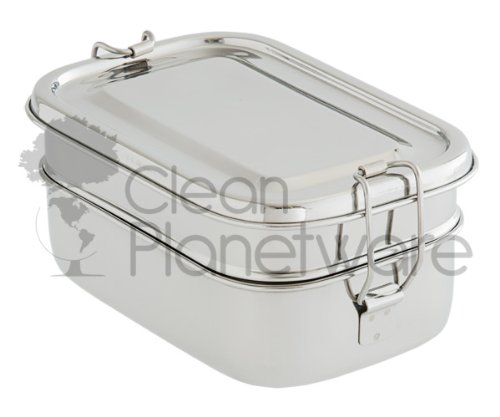 Clean Planetware 2 Layer Rectangular Stainless Steel Lunch Box