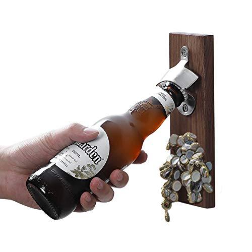 TentHome Flaschenöffner Wand Bier-Flaschen-Öffner Magnet Wandflaschenöffner Holz Kühlschrank Aufkleber (Walnussholz)