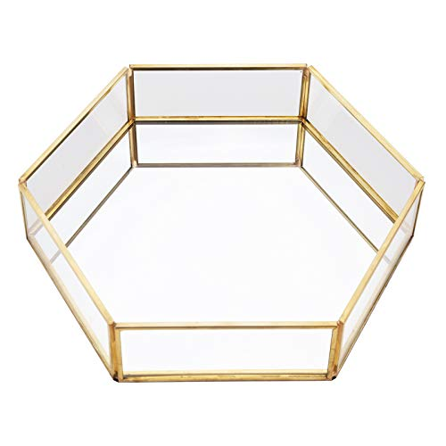 Jodsen Cosmetic Trays Organisers,Polygon Gold Glass Cosmetic Jewelry Storage Mirrored Plate for Ring Necklace Lipstick,Metal Gold Decorative for Cake Dessert Dressing Table Home Bathroom