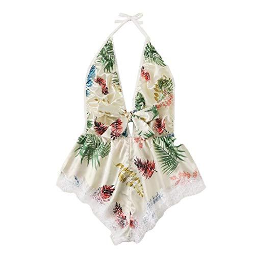 Toimothcn Womens Sexy Sleepwear Lace Satin Trim Floral Printed Lingerie Set Pajamas Babydoll Sleepwear Outfits(Multicolor,L)