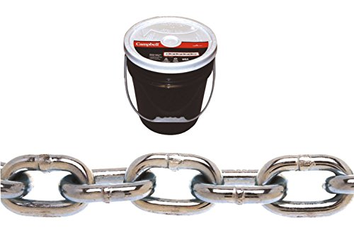 """Campbell 0140323 System 3 Grade 30 Low Carbon Steel Proof Coil Chain in Round Pail, Zinc Plated, 3/16"""" Trade, 0.21"""" Diameter, 250' Length, 800 lbs Load Capacity"""
