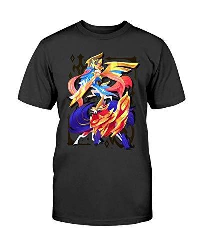 Zacian zamazenta t Shirt Sword Shield legendaries p-okemon galar Region Legendary p-okemon gen DMN11 t-Shirts, Hoodie Black