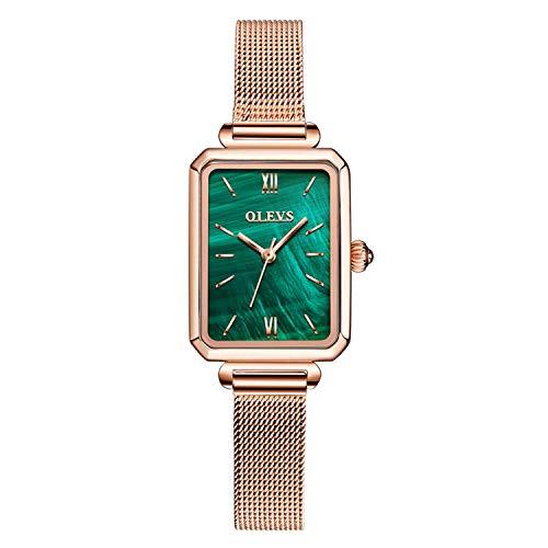 RORIOS Mode Damen Uhren Analog Quarz Armband Uhren Quadrat Zifferblatt Minimalistisch Mesh Bracelets Casual Mädchen Uhr