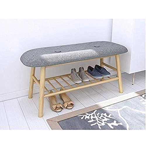 Equipo para el hogar Taburete para zapatos Taburete para zapatos Inicio Puerta de madera maciza Gabinete para zapatos simple Sofá multifuncional Taburete para zapatos Comodidad (Color: Marrón Tamañ
