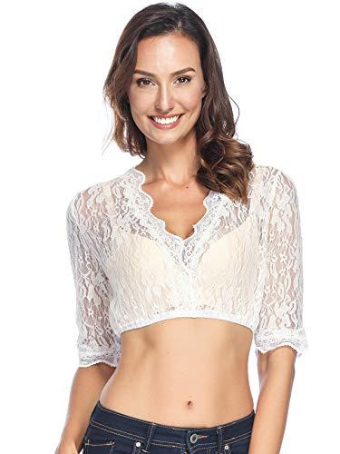 BesserBay Damen Trachtenmode Dirndlbluse mit Stehkragen Spitze Dirndl Bluse, 1004 Spitzenbluse, Gr.- 42-44/Etikettengröße - XL